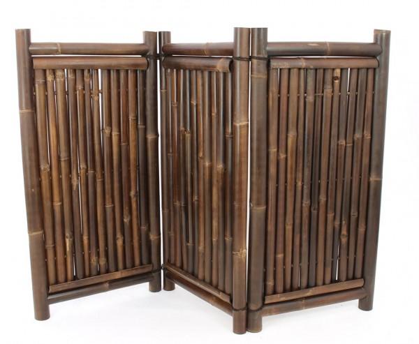 Raumteiler aus schwarzen Bambus 3teilig mit 120 x 180cm, Wulung Rohre 3,5-6cm