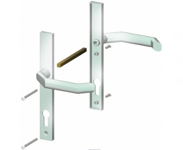 Drückergarnitur in Edelstahloptik für alle Sichtschutzwand Tore