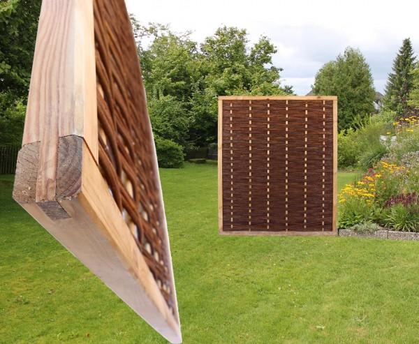 """Weidenwand """"Mia"""" mit 140x120cm in Premium Qualität, gekochte Weide, Holz gebeizt"""