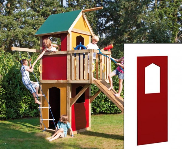 Wandelement mit Fenster für Spielhaus rot, 138 x 90cm