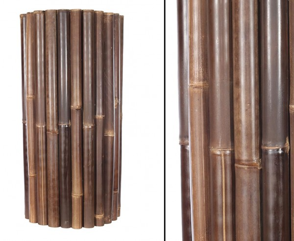 Bambusmatte schwarz H100xL250cm Durch 4-6cm Wulung Rohre mit Draht verbunden