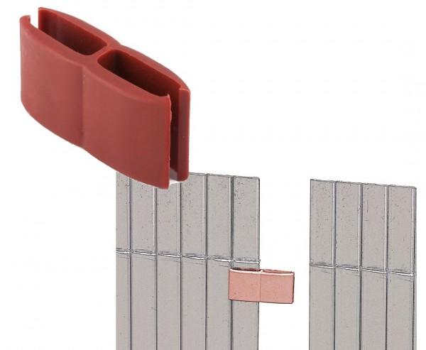 Verbinder Zubehör für Kunststoffmatten von Videx, kirsch farbig, mit 4 Stück pro Beutel