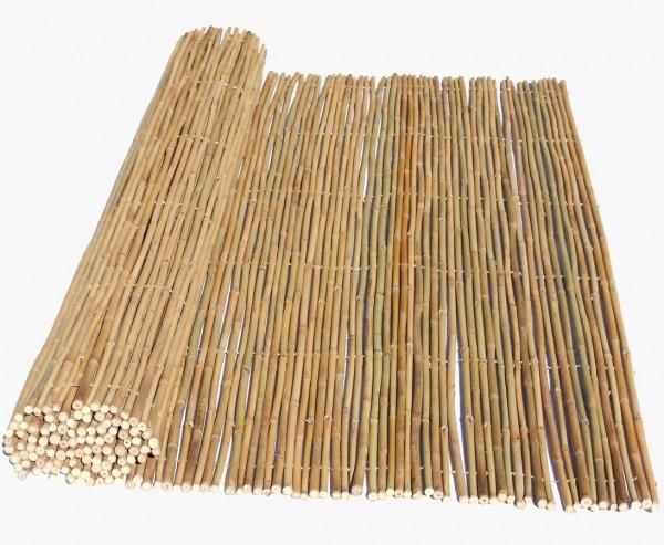 Bambusrolllzaun Tonkin gelblich mit 180x180cm, flexibel verbunden mit Bambusrohren 1,4 bis 1,6cm