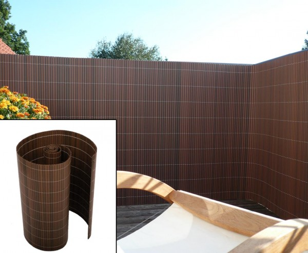 """Kunststoff Sichtschutz für Balkon """"Sylt"""" 90x300cm nussbaum farbig"""