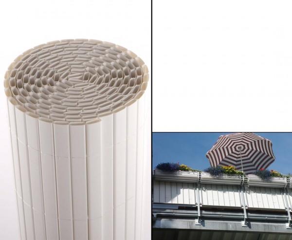 """Balkon Sichtschutz Kunststoff """"Sylt"""" 90 x 300cm weiss"""