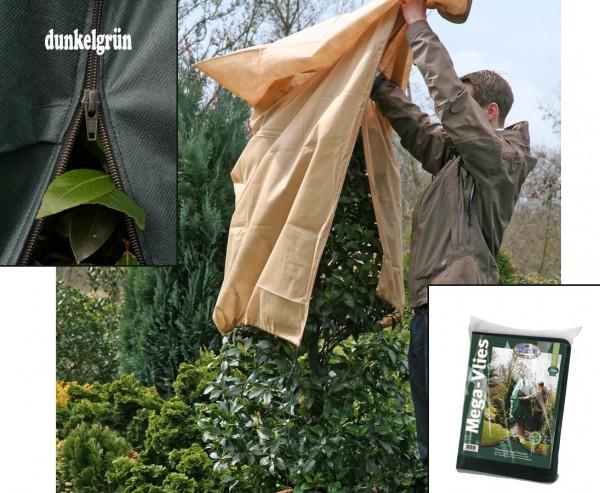 Winterschutz Mega Vlieshaube, mit Reißverschluß, 50g/qm,  dunkel grün, Abmessungen ca. 180 x 120cm