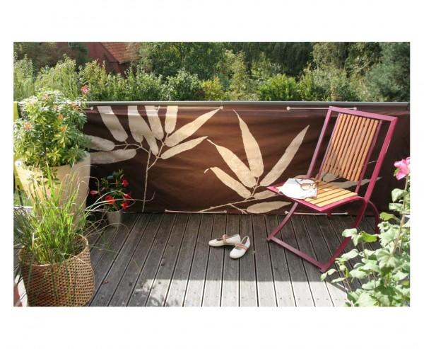 """Balkon Sichtschutz """"Bambus"""", aus Polyesterstoff mit 90x300cm, braun"""