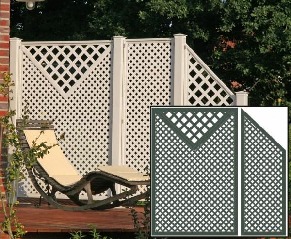 HDPE Terrassen Sichtschutz Set2 grün, mit 2 Basiselementen, Pfosten und Zubehör, Maße L:220 x H:190c