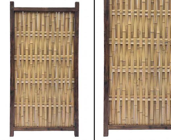 "Bambus Zaun ""BADI"" gelb mit Rahmen aus Holz, 90 x 180cm"