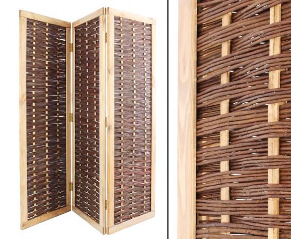 Raumteiler als Weiden Paravent 3teilig mit 180x180cm, mobiler Blick- und Windschutz