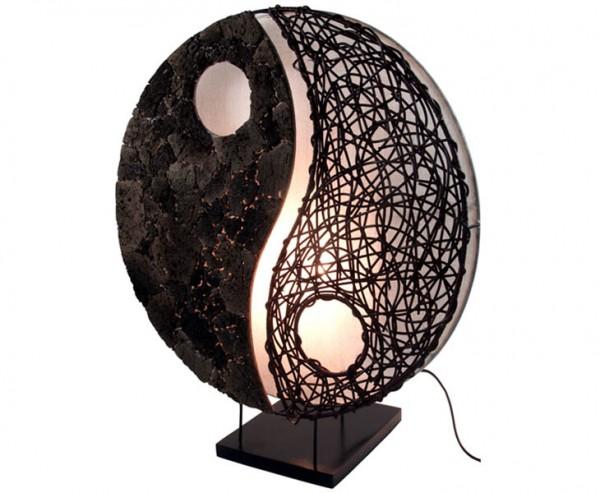 """Tischlampe """"Olivea"""" aus Naturmaterial und Krinkelstoff, Höhe 50cm"""