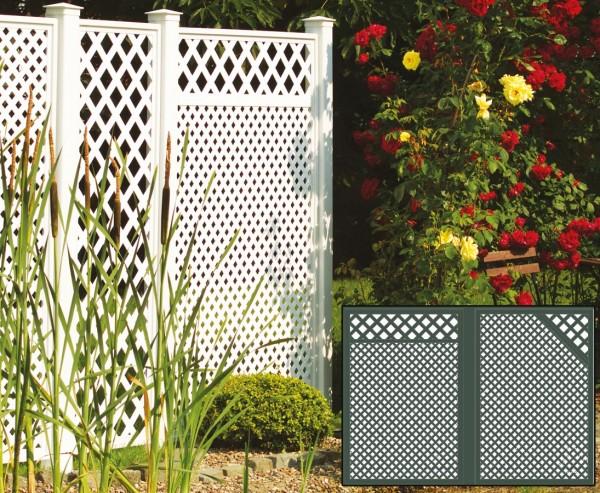 Sichtschutz Terrasse Set 3 grün, mit 2 Basiselementen, Pfosten und Zubehör, Maße L:280 x H:190cm