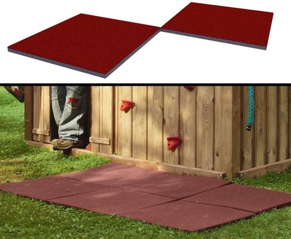 Fallschutzmatte klein, rot-braun, Stärke 2,5cm, 50x50cm