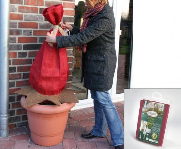 Jute Gewebe rot für Pflanzen im Winter mit 180g/qm, mit 105 x 500cm