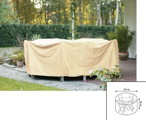 Abdeckhaube Gartenmöbel, für Tischgruppe rund, mit 80cm und einem Durch. von 163cm, beige-uni