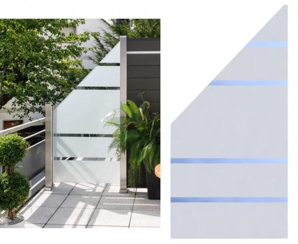 Sichtschutz Glas Anschluss ALPHA 180/90x90cm links, satiniert mit 4 durchsichtigen Streifen