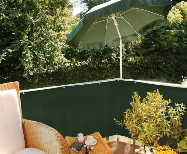 Balkonsichtschutz aus PE Material grün, 90cm hoch 500cm lang