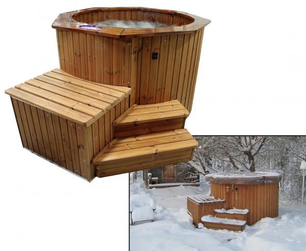 """Bade Fass """"Premium Polar"""" Set2 vormontiert, isoliert mit Massage Modul, Elektro Ofen"""