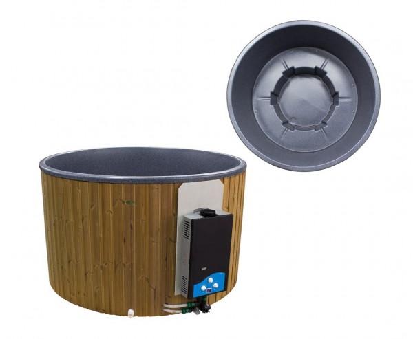 """Gas Hot Tub """"Terrasse"""" 180cm Set mit Wandpaneele und Polyethylen Wanne schwarz marmoriert"""