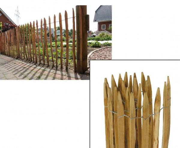 """Staketenzaun natur """"munic"""" 180 x 300cm und Durch. 7 bis 8cm"""