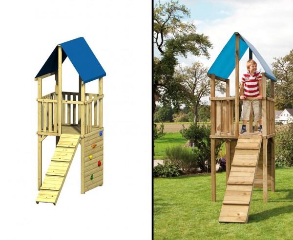 Spielturm FIPS mit Klettersteg und Kletterwand, 110x242x313cmSpielhaus System aus Holz, Kletterturm
