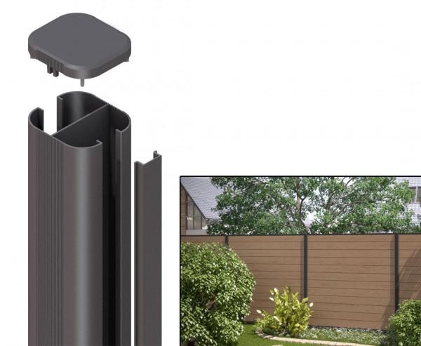 WPC System Zaunpfosten zum einbetonieren 150cm anthrazit