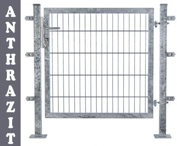 Gartentüre für Doppelstabmatten 120x100cm feuervz. + anthr., incl. Pfosten und Zubehör