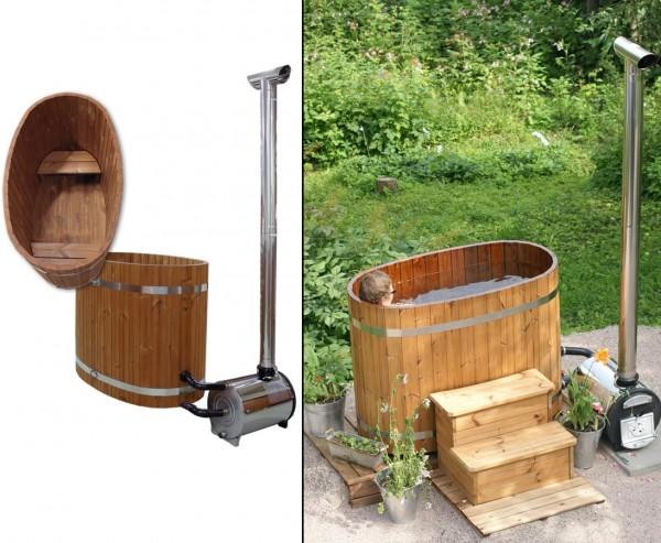 Badewanne aus Holz, mit Ofen und Sitzbänke, Set4