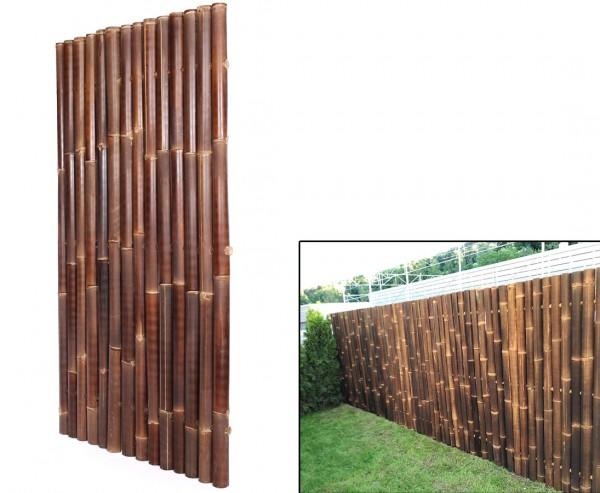 """Bambuswand 180x90cm schwarz-braun starr """"Gigant1"""" aus Wulung Bambus mit Durch. 6 bis 8cm"""