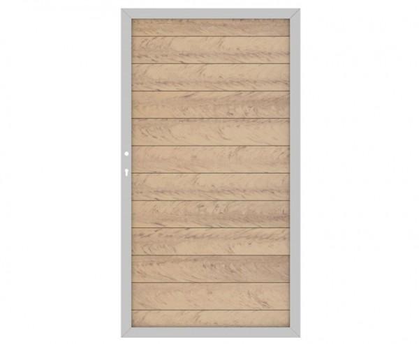 WPC System Sichtschutz Türe DIN links sandfarben mit 180x98cm, Metallrahmen silber