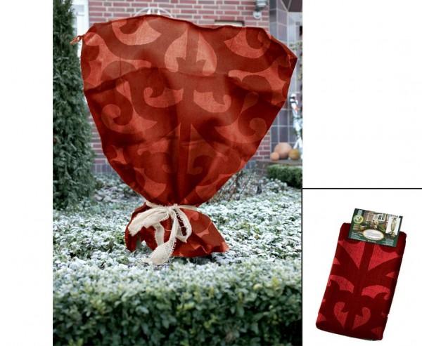 Winterschutz Jutesack, im Ornament Design, dunkel rot, Abmessungen ca. 80 x 60cm