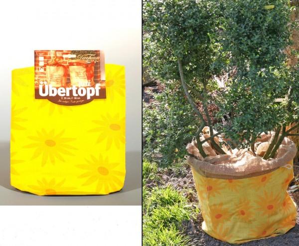 """Für Pflanzen im Winter, Jute Übertopf gelb mit """"Sonnenblumen"""" Muster, Durch. 35 x 38cm"""