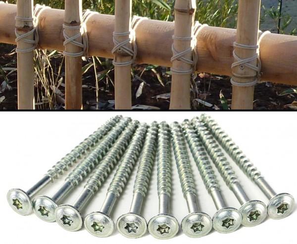 Tellerkopfschrauben für Bambusrohre 6x80mm als 10er Set
