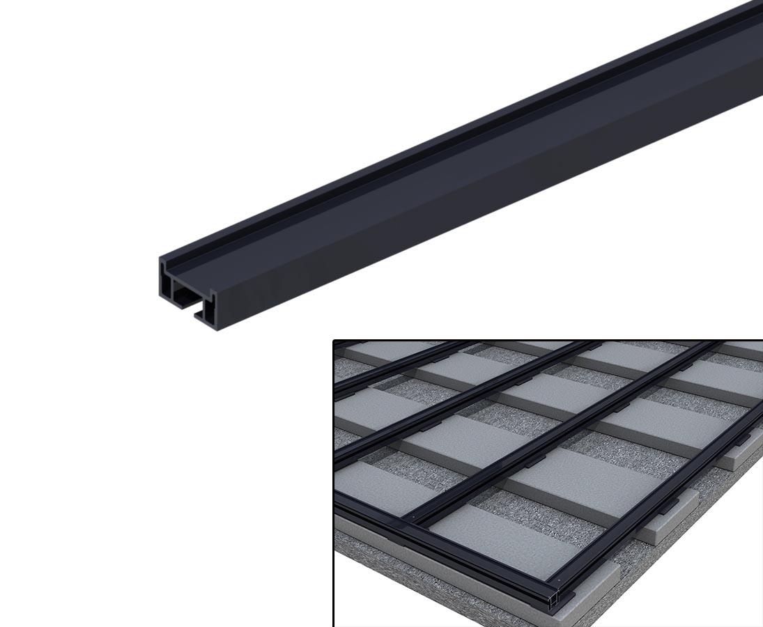Alu Schiene flach 200x200x20cm für Unterkonstruktion Terrassen Dielen