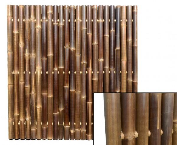 """Bambuswand 180x180cm schwarz-braun starr """"Gigant1"""" aus Wulung Bambus mit Durch. 6 bis 8cm"""