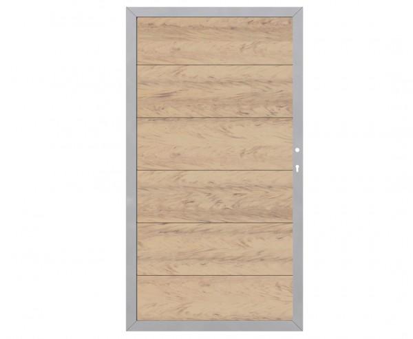 Sichtschutzwand WPC Alu Türe rechts, sandfarben mit 180x98cm