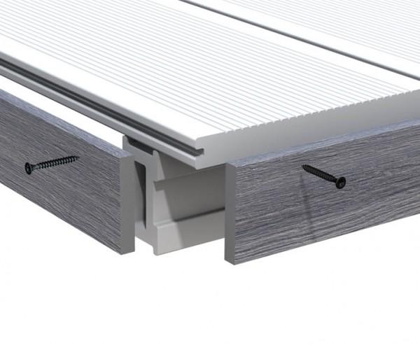 Abschlussleiste grau für WPC Terrassendielen Platinum 200cm, Vollprofil 1x6cm
