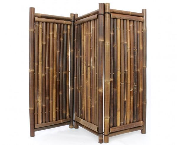 Raumteiler Bambus 150x180 3teilig mit schwarzen Wulung Rohren 4- 6cm