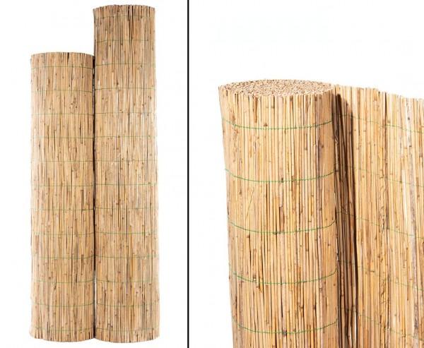 """Schilfrohrmatte """"Bambussi"""" 120 x 600cm mit grünem Draht"""