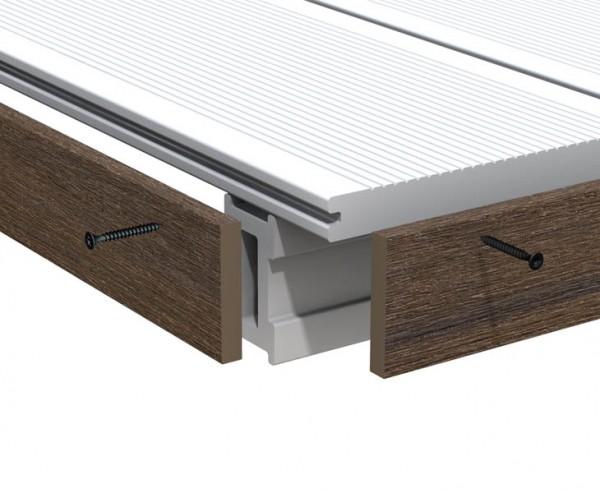 Abschlussleiste braun für WPC Terrassendielen Platinum 200cm, Vollprofil 1x6cm
