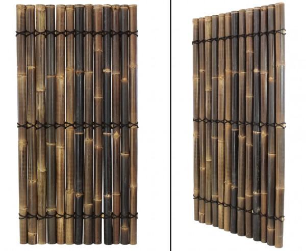 """Bambuszaun """"Apas3"""" schwarz- braun, ganze Bambusrohre, 180 x 90cm"""