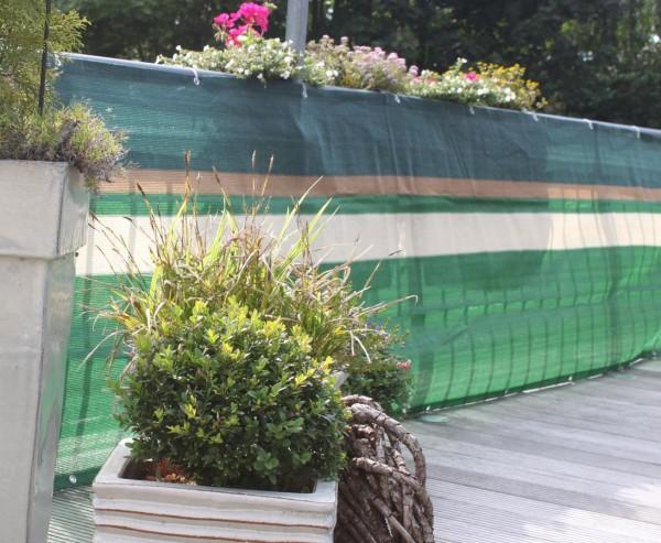 Balkonbespannung aus hochwertigen Kunststoffmaterial 90x500cm, grün/beige