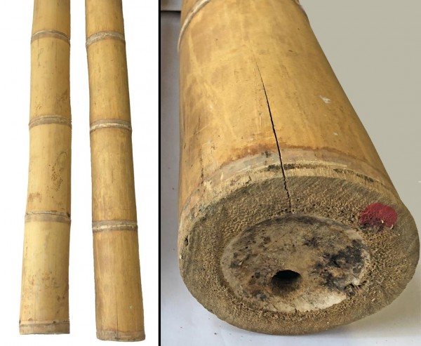 Bambusstange natur, Guadua sehr schwach konisch, gelb braun, mit Borsalz behandelt, Durch. 5- 7,5cm,