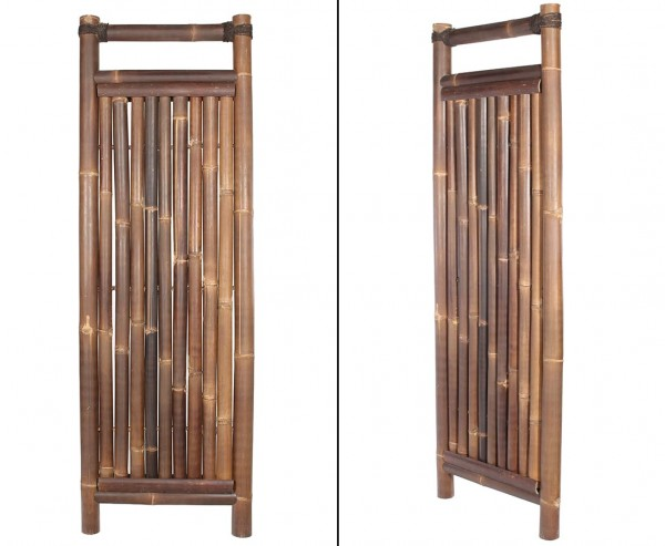 """Bambuszaun """"Jakarta"""" 180x60cm schwarz-braun starr aus Wulung Bambus mit 6 bis 7cm"""