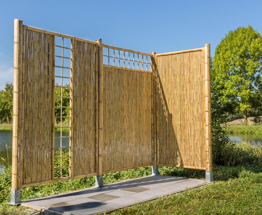 Bambus Sichtschutzzaun Mit Gitter Oben 180x120cm Kaufen