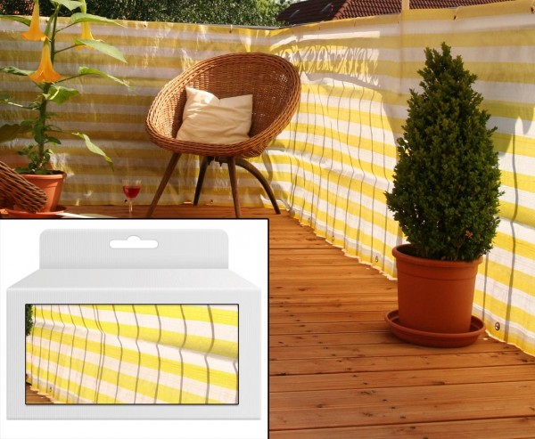 Balkonbespannung aus PP Material, 90x500cm, gelb/weiß