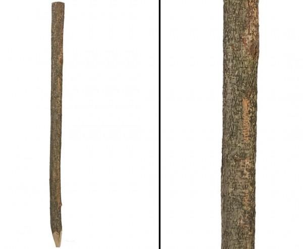 Pfosten gespitzt naturbelassen für Hasel- und Sichtschutzzäune 7-8cm mit 190cm