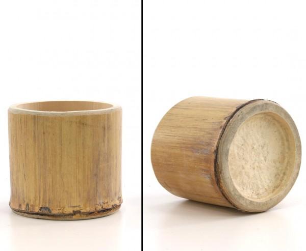 Bambus Cup 10cm mit 8 bis 12cm, Rohr Abschnitt hitzebehandelt gelbbräunlich