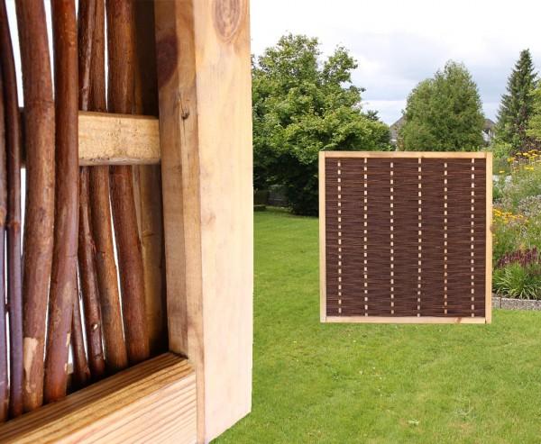 """Weidenzaun """"Mia"""" mit 120x120cm in Premium Qualität, gekochte Weide, Holz gebeizt"""