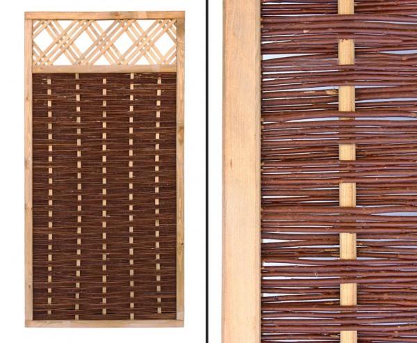 """Weidenwand """"Mia"""" mit Fenster 180x90cm hochwertig, gekochte Weide, Holz gebeizt"""